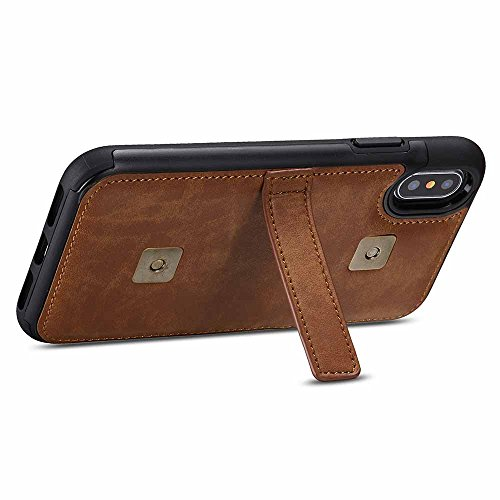 Card With Buckle Wallet Multi in Wrist 2 Simple Iphone Bracket Belt Leather Advanced 1 Luxury coostoreeu Pu Slots X Front brown Brown function Separation Case Strap 6 RZqRAC