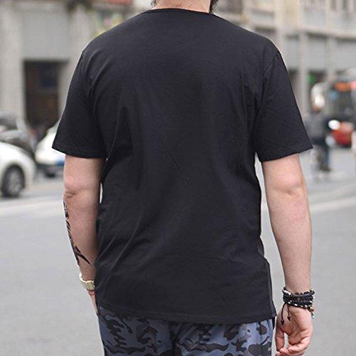 Honghu Casual Impresión Original Crew Neck Camiseta con Manga Corta Para Hombre Negro