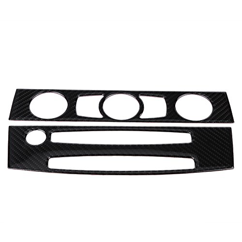 Qiilu Carbon Fiber Car Interior Front Air Conditioner Outlet CD Control Frame Cover Trim for BMW E60(04-07 D)