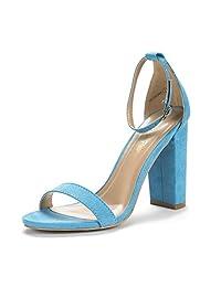 DREAM PAIRS HI-Chunk New Women's Evening Dress High Chunky Heel Open Toe Ankle Strap Stiletto Wedding Pumps Sandals