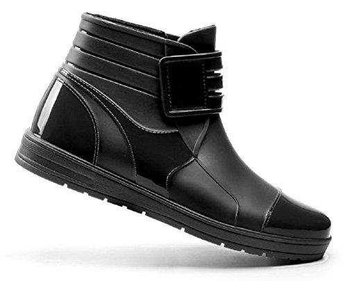 Plaid Slip Shoes (Kuro&Ardor Rubber Boots Mens and Boys Black Bubber Waterproof Rain Short Boots Business Casual Shoes Black Velcro (9.5 US 27cm))