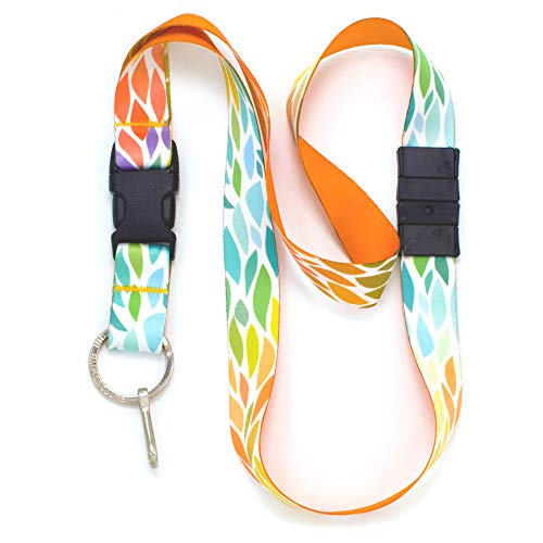 Buttonsmith Color Leaves Premium Breakaway Lanyard - Safety Breakaway, Buckle and Flat Ring - Made in USA by Buttonsmith