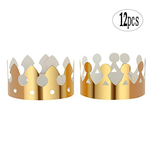 BinaryABC Gold Paper Crown,Birthday Party Hats Cap, for Birthday Party Supplies,12Pcs -