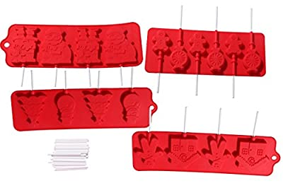 Silicone Christmas Holiday Chocolate Lollipop Sucker Mold Set Hard Candy Heat Resistant Includes 100 Lollipop Sticks - 4 Piece Set