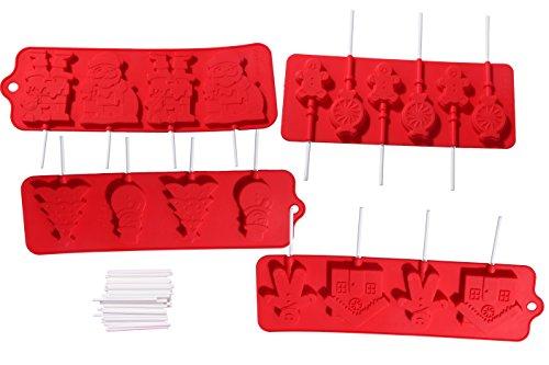 Christmas Lollipop Mold Heat Resistant Silicone Candy Mold - Includes 100 Lollipop Sticks - 4 Piece Set