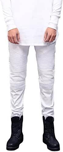 DAVID.ANN Men's Ripped Slim Straight Biker Jeans