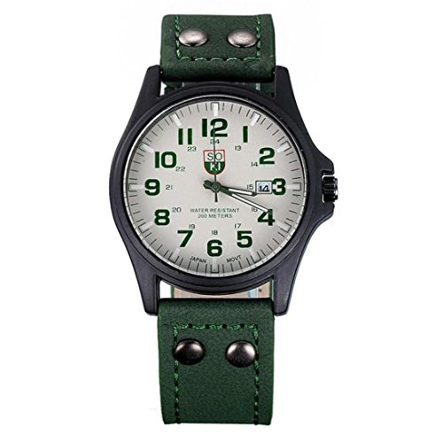 Silver Edifice Dress Watch - HOT!~ Wrist watches, Men's Vintage Classic Waterproof Date Leather Strap Sport Quartz Army Watch (Green)