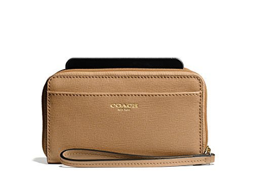 Coach Saffiano Leather EW Universal Phone Case Wristlet wallet 64976 Toffee by Coach