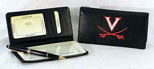 NCAA Virginia Cavaliers Embroidered Genuine Cowhide Leather Checkbook (Virginia Leather Checkbook Cover)
