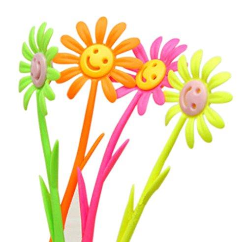 Set of 12 Smiley Face Flowers Gel Pen with Fragrance Signing Pen (Random Color)