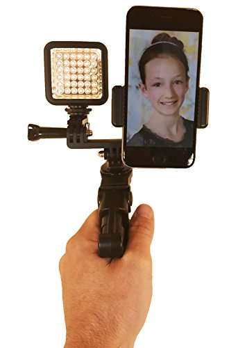 Octo Mount - Dual Device Tripod & Hand Grip Mount with LED Light. Works with iPhone, GoPro, Android, Samsung. (2 Device Pro Tripod)