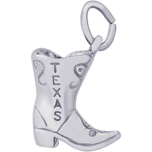 Rembrandt Charms Sterling Silver Texas Cowboy Boot Charm (11 x 10.5 ()