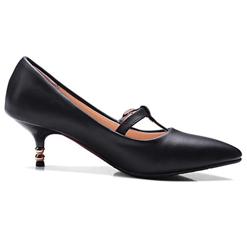 TAOFFEN Women Kitten Heel Court Shoes Black Ls9orhwVyZ