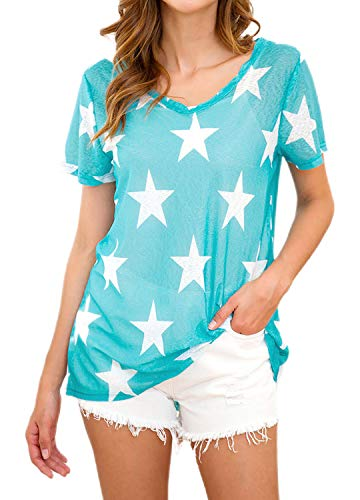 Haoohu Women's Star Hollow Out Mesh T-Shirt Tops Rave Festival Blouse Sky Blue