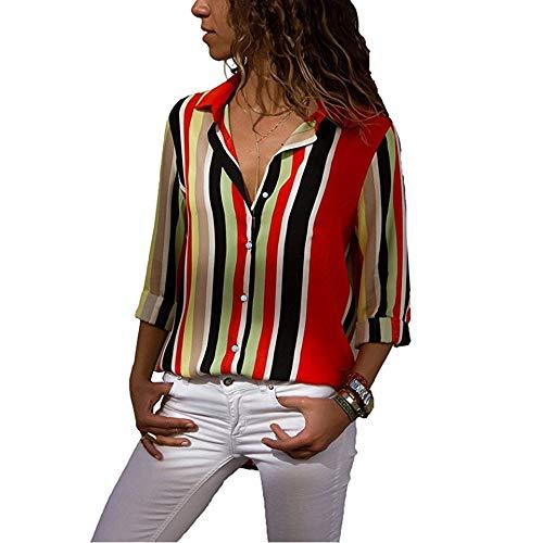 Vini Chemisier 2 Chic Manche Decha Loose Imprim Ray Cou V Blouse Femme Top Shirt Chemise T Automne Rouge Casual Longue Printemps 4qxSUSdw