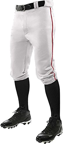 CHAMPRO Youth Triple Crown Braided Knicker Baseball Pant- White/Scarlet Pipe, - Pants Scarlet