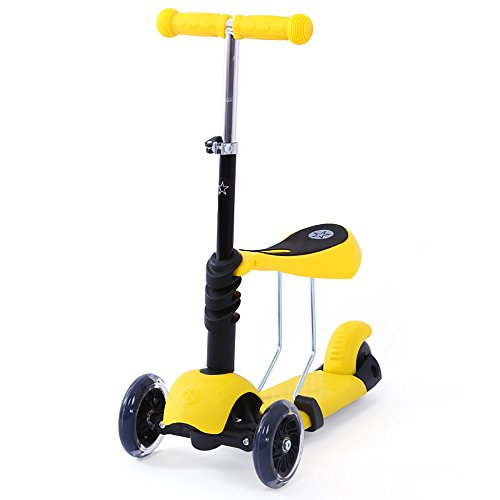 3-Wheel Kick Scooter for Kids, DraWaoy Mini Kick Scooter with Removable Adjustable Seat, Adjustable Handlebar and Light up Flashing Wheels(Yellow)