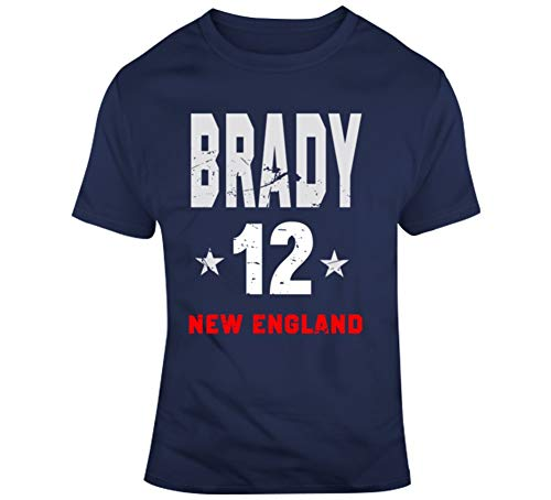 Tom Brady 12 Distressed New England Football Fan T Shirt XL Navy