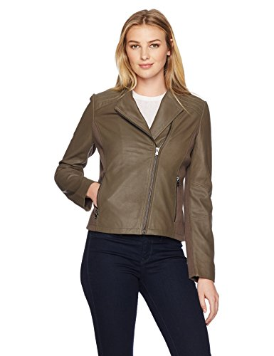 Lark & Ro Women's Moto Leather Jacket, Taupe, Small