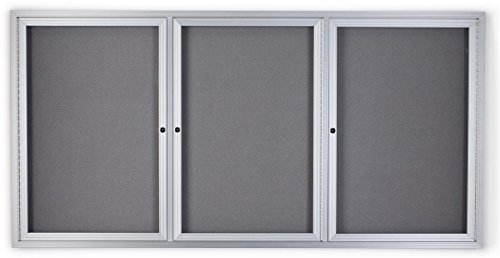 72'' x 36'' Fabric Tack board, 3 Locking Swing-Open Doors, 6' x 3' Enclosed Bulletin Board for Wall Mount, Hardware Included - Silver Aluminum Frame with Light Gray Fabric by Displays2go