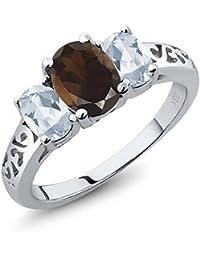 2.20 Ct Oval Brown Smoky Quartz Sky Blue Topaz 925 Sterling Silver 3 Stone Ring
