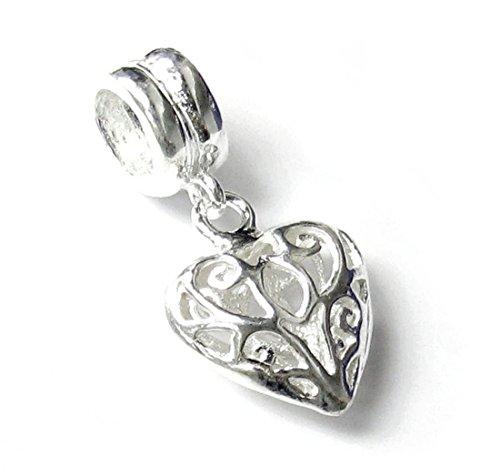 .925 Sterling Silver Sweet Filigree Flower Love Puff Heart Dangle Bead For European Charm Bracelets