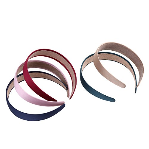 5pcs Pure-Color 3cm Wide Hair Hoop Bands Headband Headpiece Hairdress for Hairstyle (Khaki + Pink + Wine Red + Navy Blue + Blackish Green) -