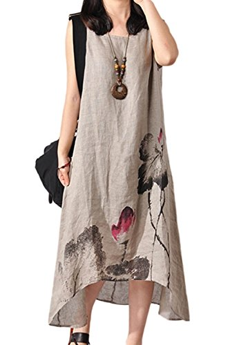 Vestido Khaki Florales Mujeres Vestidos De Y Algodon Las Lino Verano Elegante Maxi Shift UZxw4td1q