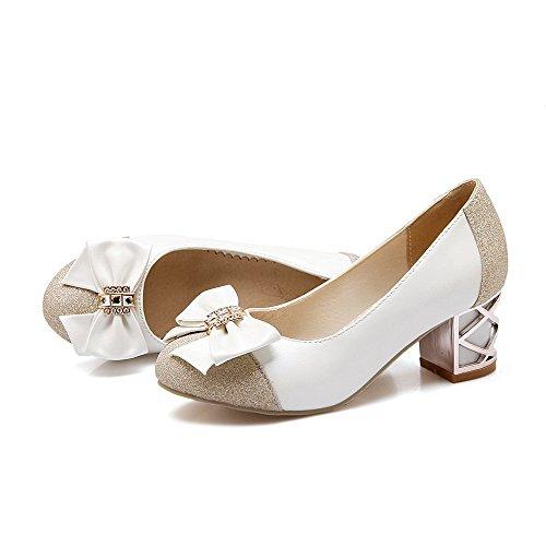 AllhqFashion Damen Blend-Materialien Eingelegt Ziehen auf Rund Zehe Mittler Absatz Pumps Schuhe Weiß