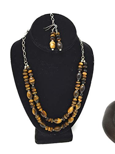 Tiger Eye Barrel Necklace Set