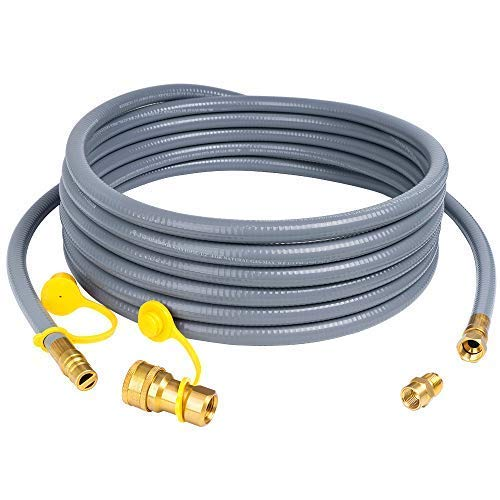 X Home 24 Feet 1/2 inch ID Natural Gas Hose, Propane Gas Grill Quick Connect/Disconnect Hose Assembly with 3/8 inch Female Flare by 1/2 inch Male Flare Adapter for NG/LPG Appliance