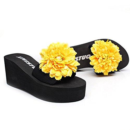 JRenok Sandalias de Sintético Mujer Amarillo rXgYCgwqRx