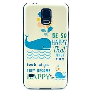 TY-Patrón feliz Delfín de la natación cubierta del estuche rígido para Samsung Galaxy i9600 S5