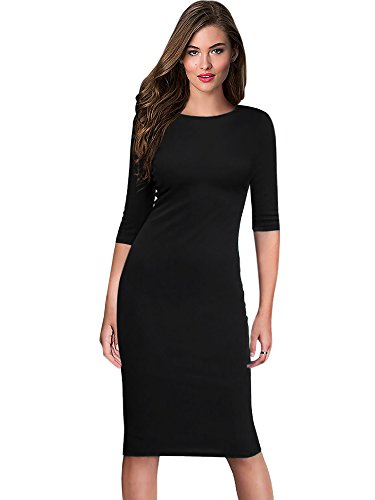 oxiuly Women's Vintage Casual Simple Half Sleeve Round Neck Party Knee Length Pencil Slim Dress OX273 (XL, Black) Simple Half Sleeve