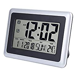 perfeo Large Display Digital Wall Clock Desk Alarm Clock with Calendar & Temperature Battery Operated Decoration Clock for Kitchen Bathroom Bedroom Office School Without Backlight