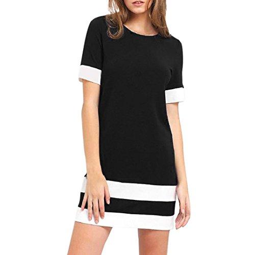 Hot Sale! Mini Dress, Women Fashion Color Block Stripe Patchwork Casual O-Neck Short Sleeve A-Line Straight Sundress (XL, Black)