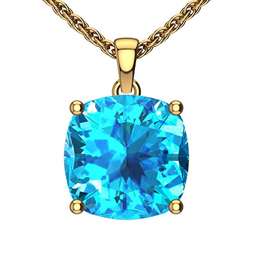 Belinda Jewelz Womens 14k Yellow Gold Cushion Shape Gemstone Rhodium Plated Sparkling Prong Real Sterling Silver Fine Jewelry Classic Chain Hanging Pendant Necklace, 4.4 Ct Swiss Blue Topaz, 18 inch ()