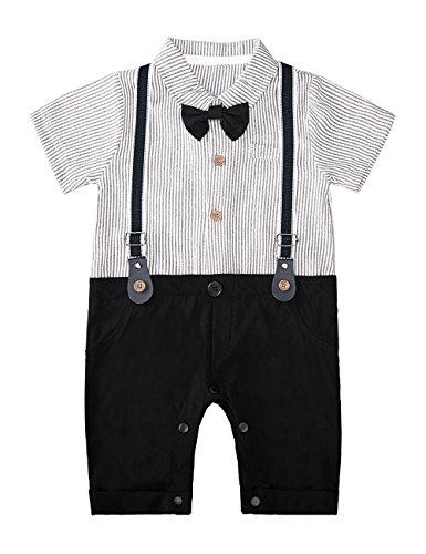 HeMa Island HMD Baby Boy Gentleman Black Stripe Shirt Bowtie Tuxedo Onesie Jumpsuit Overall Romper(0-18M) (Black, 60 (0-3 Months)) by HeMa Island