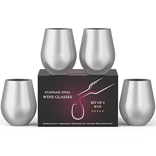 Stainless Steel Wine Stemless Glasses Set of 4, 18 oz | metal wine glasses 4 pack | Unbreakable, Dishwasher Safe, BPA Free, Great for Indoor & Outdoor Use | Steel Wine Cups - Perfect Gift -