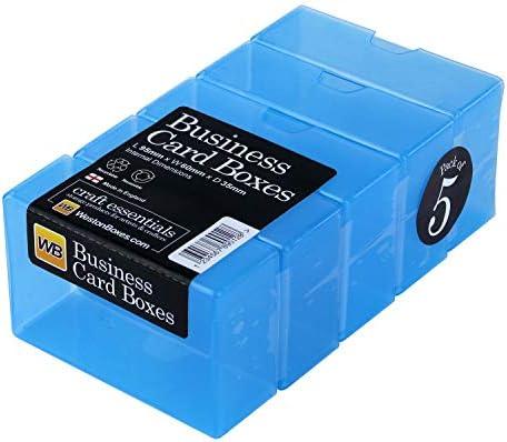 WestonBoxes Visitenkartenbox aus Kunststoff, 35 mm tief (Blau, 5 Stück)