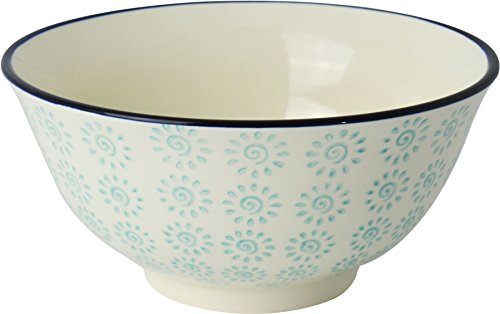 (Nicola Spring Patterned Cereal Bowl, Turquoise/Black Swirl Design - 152mm (6