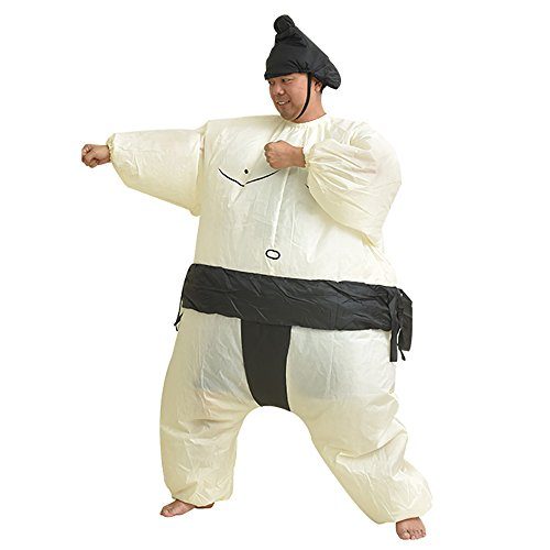 Inflatable Sumo Costume Halloween Adult Kids Fat Man Cosplay Party Wrestler Suit Unisex (Adult -