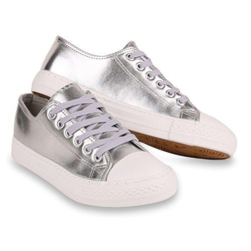 Stiefelparadies Glitzer Damen Sneakers Sneaker Low Metallic Schnürer Denim Flats Turnschuhe Sportschuhe Flandell Weiss Silber