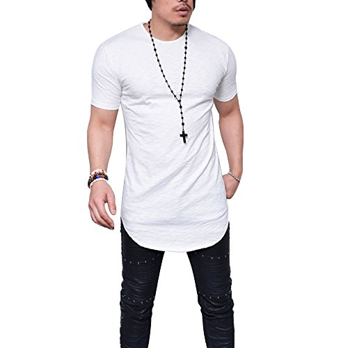 Hem Long Sleeve Cotton - LIWEIKE Mens Solid Extended Hipster Hip Hop Swag Curve Hem Long Sleeve T Shirt(White 02 (Short Sleeve), Small)