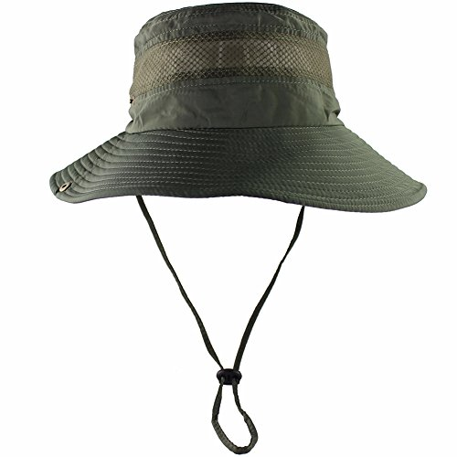 CAMOLAND Breathable Wide Brim Boonie Hat Outdoor UPF 50+ Sun Protection Mesh Safari Cap for Travel Fishing (Army Green)