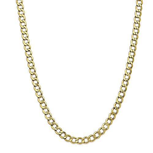 ICE CARATS 10k Yellow Gold 7mm Curb Cuban Link Chain Necklace 24 Inch Anchor Fine Jewelry Gift Set For Women Heart by ICE CARATS