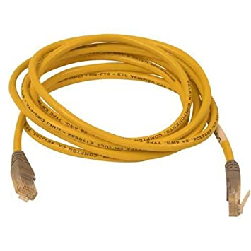 Yellow Belkin 25-Foot CAT5e Crossover Molded Networking Cable