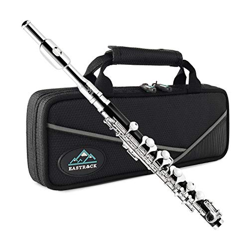 Eastrock Black Resin Piccolo Flute Key of C Silver Plated Keys with Case