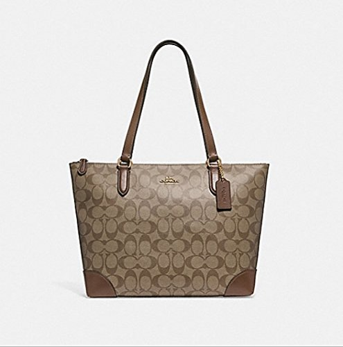 COACH ZIP TOP TOTE IN SIGNATURE CANVAS, F29208, KHAKI SADDLE, Medium