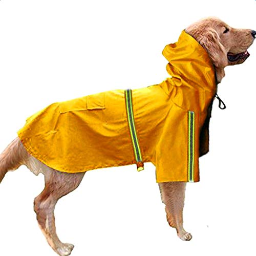 Pet Product Dog Raincoat With reflective tape waterproof Puppy Cloak Clothes for Small Medium Big Dogs Chihuahua Jacket Pet Coat (Yellow, XL)